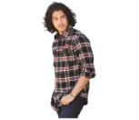 Men's Burnside Flannel Shirt - Red - Size M (490-9828M)