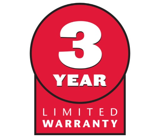 3-Year Limited Warranty - No Hour Limitations